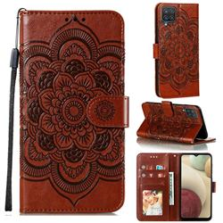 Intricate Embossing Datura Solar Leather Wallet Case for Samsung Galaxy A12 - Brown