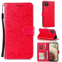 Intricate Embossing Lace Jasmine Flower Leather Wallet Case for Samsung Galaxy A12 - Red