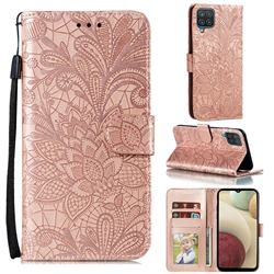 Intricate Embossing Lace Jasmine Flower Leather Wallet Case for Samsung Galaxy A12 - Rose Gold