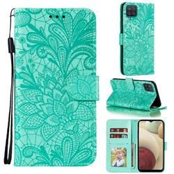 Intricate Embossing Lace Jasmine Flower Leather Wallet Case for Samsung Galaxy A12 - Green