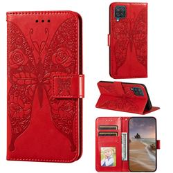 Intricate Embossing Rose Flower Butterfly Leather Wallet Case for Samsung Galaxy A12 - Red