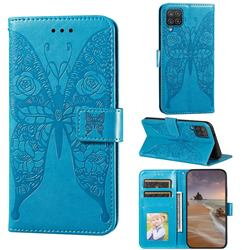 Intricate Embossing Rose Flower Butterfly Leather Wallet Case for Samsung Galaxy A12 - Blue
