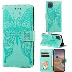 Intricate Embossing Rose Flower Butterfly Leather Wallet Case for Samsung Galaxy A12 - Green