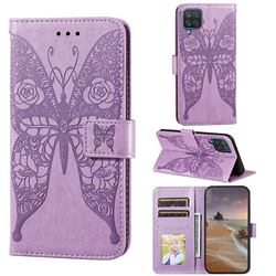 Intricate Embossing Rose Flower Butterfly Leather Wallet Case for Samsung Galaxy A12 - Purple