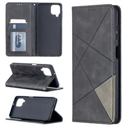 Prismatic Slim Magnetic Sucking Stitching Wallet Flip Cover for Samsung Galaxy A12 - Black