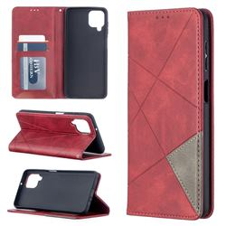 Prismatic Slim Magnetic Sucking Stitching Wallet Flip Cover for Samsung Galaxy A12 - Red