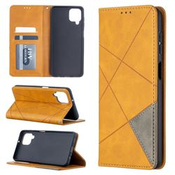 Prismatic Slim Magnetic Sucking Stitching Wallet Flip Cover for Samsung Galaxy A12 - Yellow