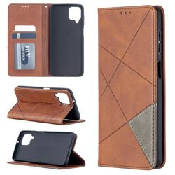 Prismatic Slim Magnetic Sucking Stitching Wallet Flip Cover for Samsung Galaxy A12 - Brown