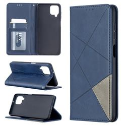 Prismatic Slim Magnetic Sucking Stitching Wallet Flip Cover for Samsung Galaxy A12 - Blue