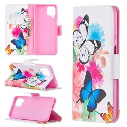 Vivid Flying Butterflies Leather Wallet Case for Samsung Galaxy A12