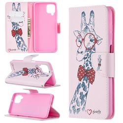 Glasses Giraffe Leather Wallet Case for Samsung Galaxy A12