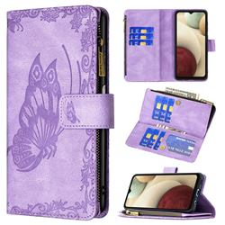 Binfen Color Imprint Vivid Butterfly Buckle Zipper Multi-function Leather Phone Wallet for Samsung Galaxy A12 - Purple