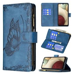 Binfen Color Imprint Vivid Butterfly Buckle Zipper Multi-function Leather Phone Wallet for Samsung Galaxy A12 - Blue