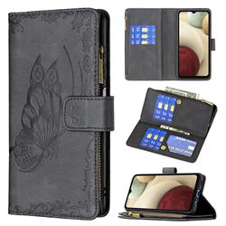 Binfen Color Imprint Vivid Butterfly Buckle Zipper Multi-function Leather Phone Wallet for Samsung Galaxy A12 - Black