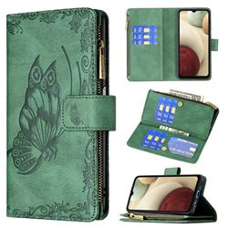 Binfen Color Imprint Vivid Butterfly Buckle Zipper Multi-function Leather Phone Wallet for Samsung Galaxy A12 - Green