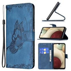 Binfen Color Imprint Vivid Butterfly Leather Wallet Case for Samsung Galaxy A12 - Blue