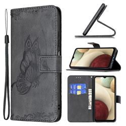 Binfen Color Imprint Vivid Butterfly Leather Wallet Case for Samsung Galaxy A12 - Black