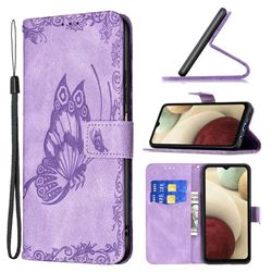 Binfen Color Imprint Vivid Butterfly Leather Wallet Case for Samsung Galaxy A12 - Purple