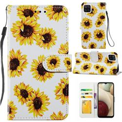 Sunflower Smooth Leather Phone Wallet Case for Samsung Galaxy A12