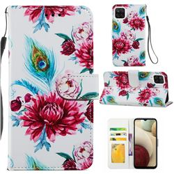 Peacock Flower Smooth Leather Phone Wallet Case for Samsung Galaxy A12