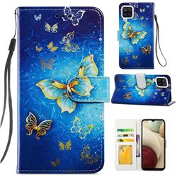 Phnom Penh Butterfly Smooth Leather Phone Wallet Case for Samsung Galaxy A12