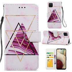 Three-color Marble Smooth Leather Phone Wallet Case for Samsung Galaxy A12