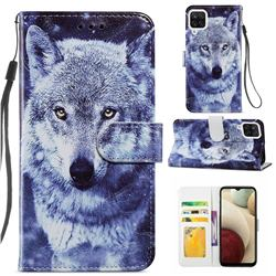 White Wolf Smooth Leather Phone Wallet Case for Samsung Galaxy A12
