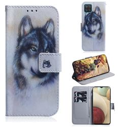 Snow Wolf PU Leather Wallet Case for Samsung Galaxy A12