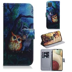 Oil Painting Owl PU Leather Wallet Case for Samsung Galaxy A12
