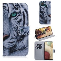 White Tiger PU Leather Wallet Case for Samsung Galaxy A12