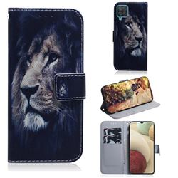 Lion Face PU Leather Wallet Case for Samsung Galaxy A12