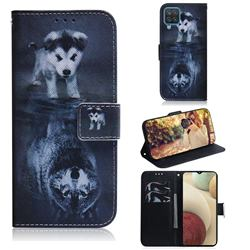 Wolf and Dog PU Leather Wallet Case for Samsung Galaxy A12