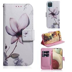 Magnolia Flower PU Leather Wallet Case for Samsung Galaxy A12