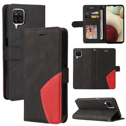 Luxury Two-color Stitching Leather Wallet Case Cover for Samsung Galaxy A12 - Black