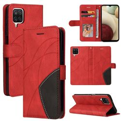 Luxury Two-color Stitching Leather Wallet Case Cover for Samsung Galaxy A12 - Red