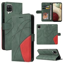 Luxury Two-color Stitching Leather Wallet Case Cover for Samsung Galaxy A12 - Green