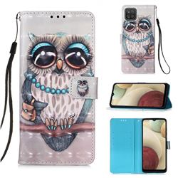Sweet Gray Owl 3D Painted Leather Wallet Case for Samsung Galaxy A12