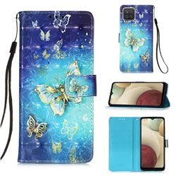 Gold Butterfly 3D Painted Leather Wallet Case for Samsung Galaxy A12