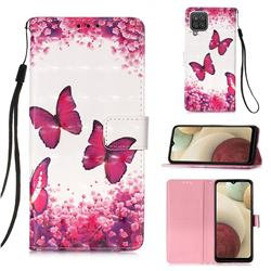 Rose Butterfly 3D Painted Leather Wallet Case for Samsung Galaxy A12