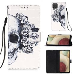 Skull Flower 3D Painted Leather Wallet Case for Samsung Galaxy A12