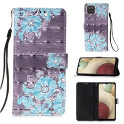 Blue Flower 3D Painted Leather Wallet Case for Samsung Galaxy A12