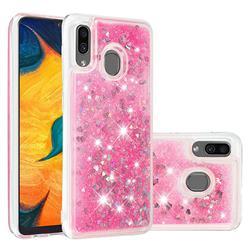 Dynamic Liquid Glitter Quicksand Sequins TPU Phone Case for Samsung Galaxy A20 - Rose