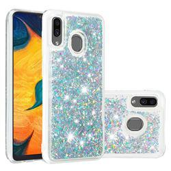 Dynamic Liquid Glitter Quicksand Sequins TPU Phone Case for Samsung Galaxy A20 - Silver