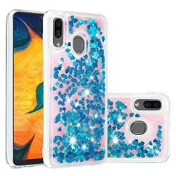Dynamic Liquid Glitter Quicksand Sequins TPU Phone Case for Samsung Galaxy A20 - Blue