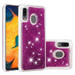 Dynamic Liquid Glitter Quicksand Sequins TPU Phone Case for Samsung Galaxy A20 - Purple