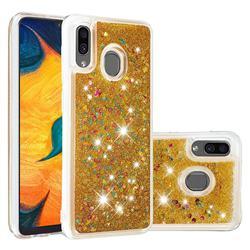 Dynamic Liquid Glitter Quicksand Sequins TPU Phone Case for Samsung Galaxy A20 - Golden