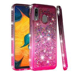 Diamond Frame Liquid Glitter Quicksand Sequins Phone Case for Samsung Galaxy A20 - Gray Pink