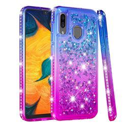Diamond Frame Liquid Glitter Quicksand Sequins Phone Case for Samsung Galaxy A20 - Blue Purple