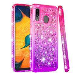 Diamond Frame Liquid Glitter Quicksand Sequins Phone Case for Samsung Galaxy A20 - Pink Purple