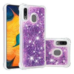Dynamic Liquid Glitter Sand Quicksand Star TPU Case for Samsung Galaxy A20 - Purple